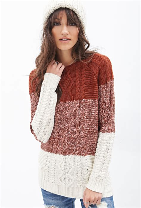 forever 21 cable knit sweater forever 21 colorblocked cable knit sweater in brown lyst
