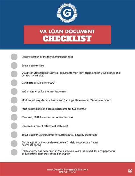 va loan document checklist guardian mortgage company