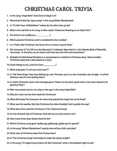 printable christmas lyrics quiz christmas carol puzzles the button down mind