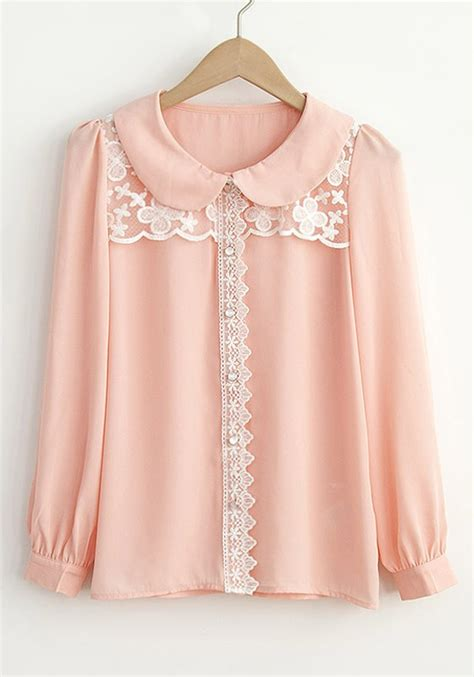 Blouse Pink pink pan collar puff sleeve chiffon blouse blouses tops