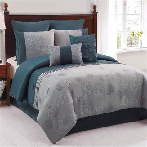 amelle slate blue grey 8 piece comforter bed in a bag