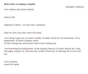 template of notice letter to employer letter to employer pertamini co
