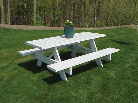 plastic picnic bench dura trel traditional white plastic picnic table bench