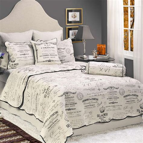 details  french country quilt shams set paris script