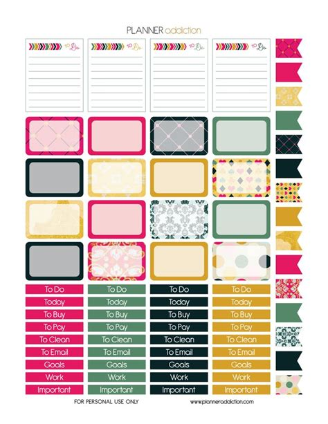 erin condren life planner free printable stickers 38 best images about free eclp printables planner stickers