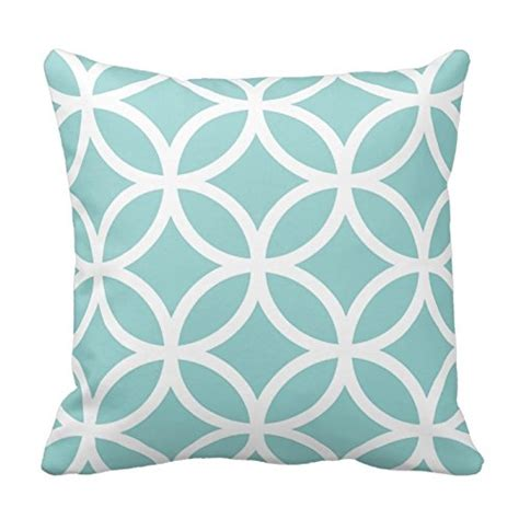 Teal Fluffy Pillow Light Teal And White Circle Pattern Throw Pillow