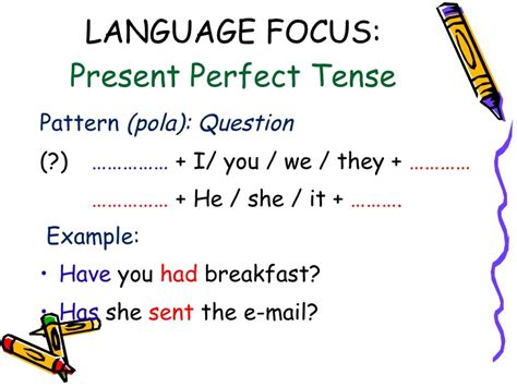 pattern of simple present perfect tense present perfect tense