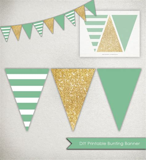 printable gold banner instant download sparkle banner printable triangle bunting