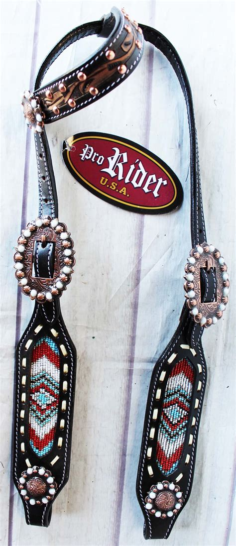 beaded tack show bridle western leather headstall barrel racing