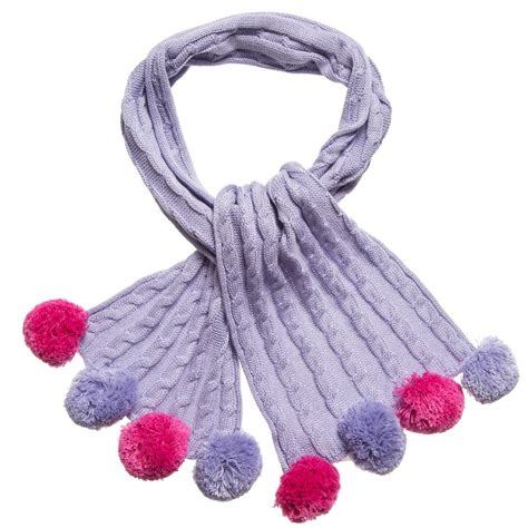 purple knit mitty pink purple cable knit bobble scarf 108cm