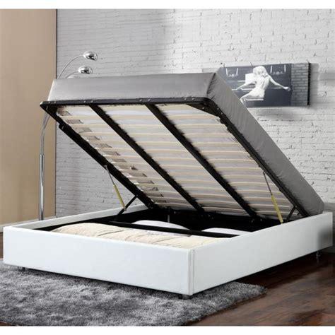 lit coffre clever blanc 140x190 achat vente structure