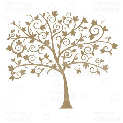 fancy tree fancy swirls autumn tree silhouette svg cut file die