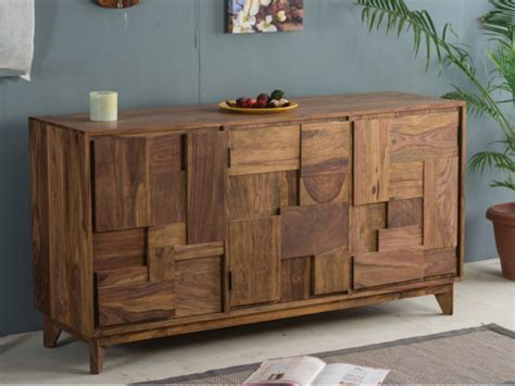 Buffet VILMA   3 portes   Bois de sheesham   Naturel