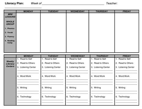 week lesson plan template shared reading lesson plan template guided reading