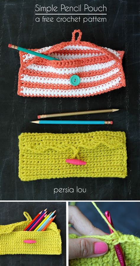 design pattern hook simple crochet pencil pouch free crochet pattern