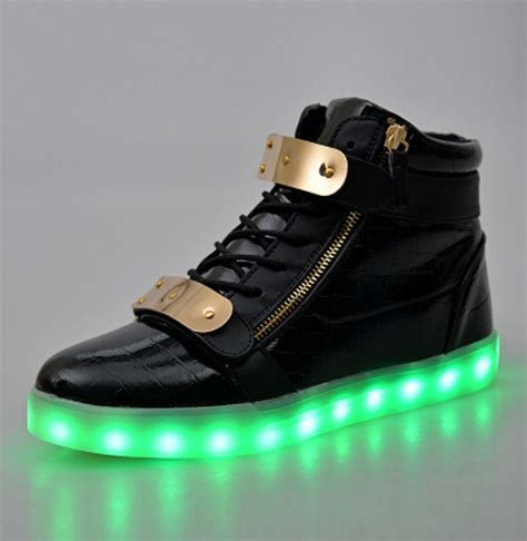Idw065 Gold Led Light Size 15 5 fashion 8 colors led shoes high top growing