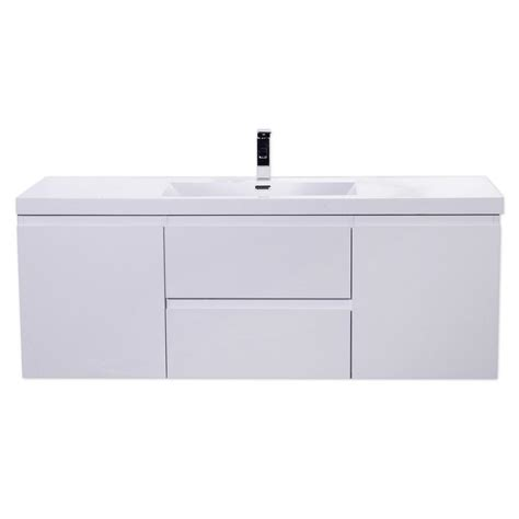 5 vanity top single sink 60 in vanity in high gloss white with single sink acrylic