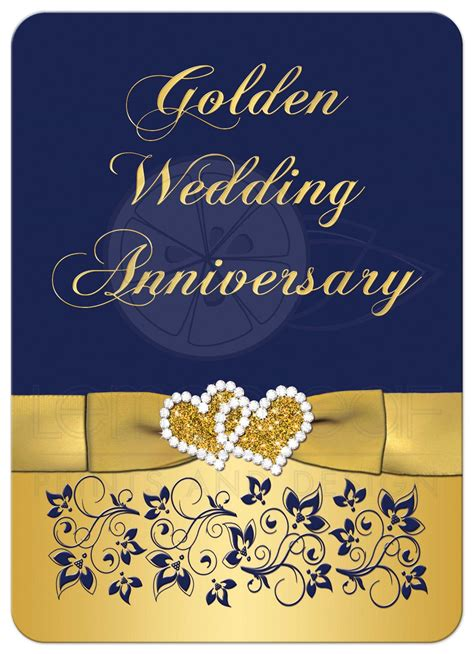 50th wedding anniversary invitation navy and gold floral printed bow joined hearts