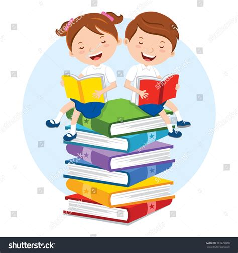 taking pictures of books school reading pleasure children sitting stock vector