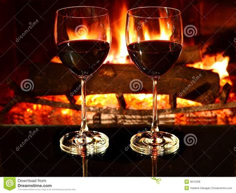 Fireplace Dinner by Dinner Wine Fireplace Royalty Free Stock Photos