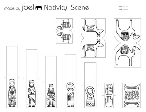 printable nativity scene characters made by joel paper city nativity scene template kids craft 2