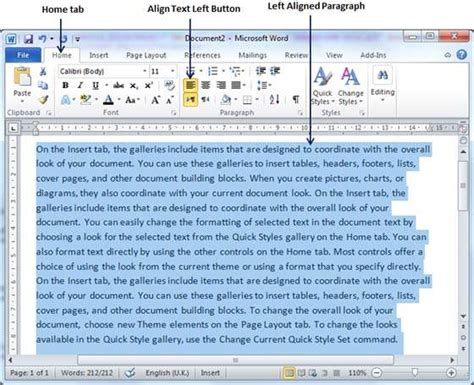 layout alignleft text alignments in word 2010