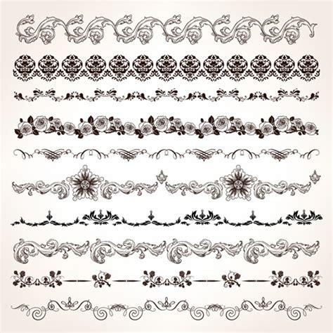 vintage floral design elements vector free download set of vintage design elements vector borders free vector