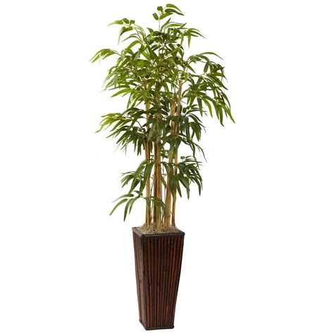 decorative bamboo canes in a wood grain planter artificial bamboo 4 foot artificial bamboo in decorative planter 6737