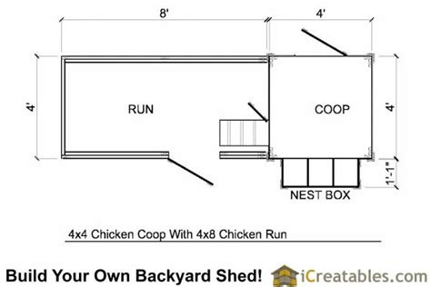 chicken coop floor plan 4x4 chicken coop lean to plans simple to build for 6 chickens