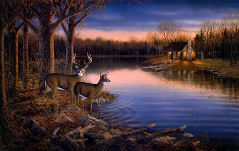 Dusk Autumn Forest Lake Water Sam Timm Tranquil Evening Painting Animals Reindeer