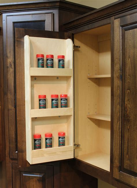 Door Mounted Spice Rack Options Burrows Cabinets Central Builder Direct