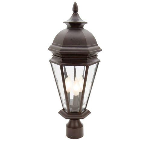 hampton bay georgetown 3light outdoor bronze post lantern