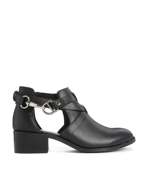 asos apollo leather cut out ankle boots in black lyst