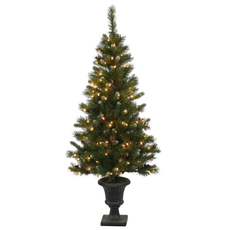 5 foot ashberry christmas tree in urn clear pre lit lights d136451