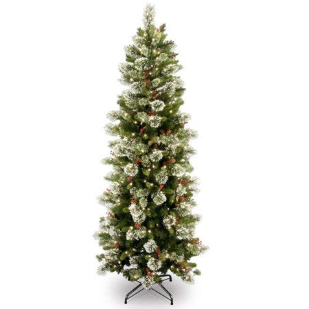 4 ft cone berry snow tip tree 7 5 pre lit slim wintry pine artificial tree with cones berries and snow clear