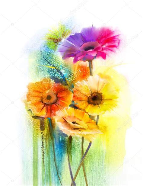 fiori astratti pittura fiori astratti dell acquerello dipinto margherita gerbera