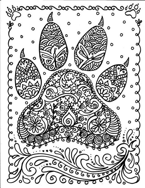 detailed coloring pages of dogs instant download dog paw print you be the artist door