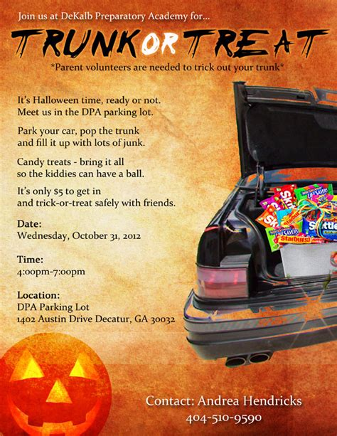trunk or treat flyer template ptso at dekalb preparatory academy