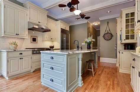 traditional kitchen remodel with white cabinets and island