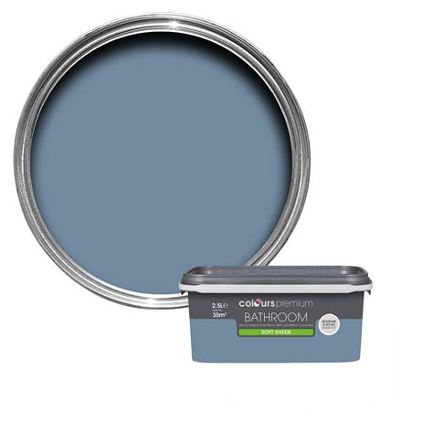 B Q Painting by Colours Bathroom Blue Thistle Soft Sheen Emulsion Paint 2