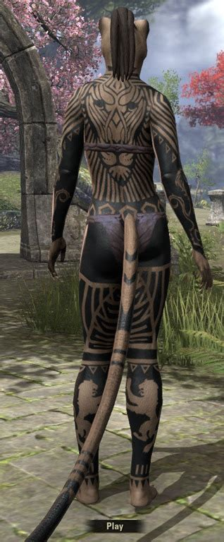 eso fashion covenant warrior body tattoos elder scrolls