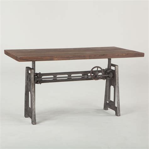 adjustable height crank dining table 36 quot zin home french industrial loft metal and wood crank adjustable