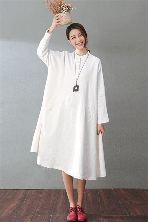 Atasan Jaket Blouse Tunik Vest Roundhand Sweater Baju Murah Tanah white casual cotton linen dresses sleeve shirt dress fantasylinen