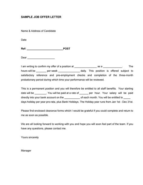 Offer Letter Vs Employment Contract Uk Simple Offer Letter Sle Letter Idea 2018