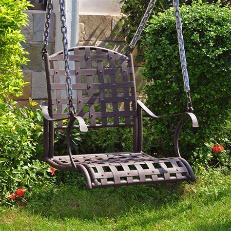 single outdoor swing international caravan santa fe single seat wrought iron