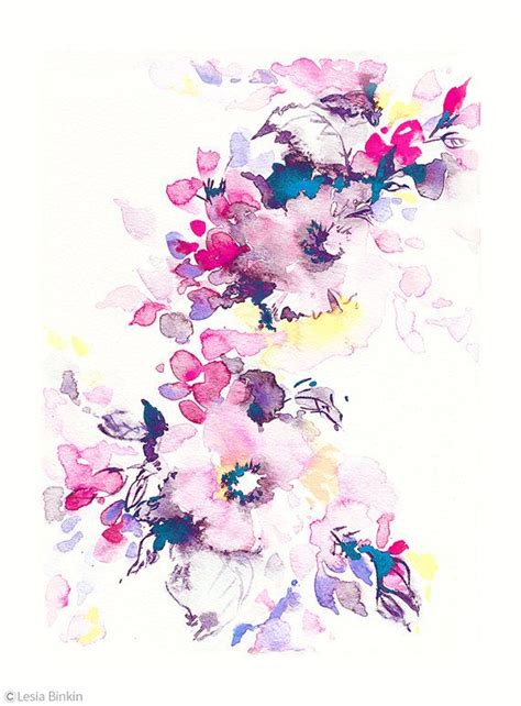 water color flowers bright watercolor flower watercolor flower print