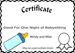 babysitting gift certificate template babysitting gift certificate template free clipart best