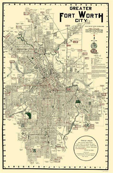map of fort texas historic city maps fort worth texas tx by c h rogers 1920