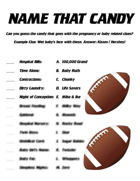 theme names for nightclubs name that candy baby shower game football themed shower