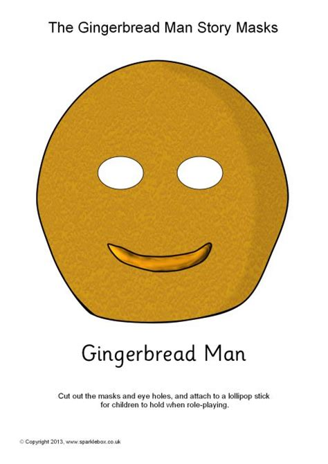free printable gingerbread man masks gingerbread man role play masks sb1159 sparklebox